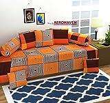 #7: Aerohaven 3D TC Printed 8Pc Diwan Set(1 Single Bedsheet, 2 Bolster Covers, 5 Cushion Covers)