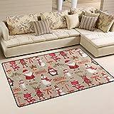 COOSUN Watercolor Weihnachten Muster Bereich Teppich Teppich rutschfeste Fußmatte Fußmatten für Wohnzimmer Schlafzimmer 152,4x 99,1cm, Textil, multi, 5' x 3'3
