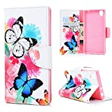 Sony Xperia L1 Case,Badalink Colorful Painting Book Style Soft PU Leather Flip Wallet Cover with Magnetic Closure Inner TPU Bumper Protective Case for Sony Xperia L1 (Butterfly)