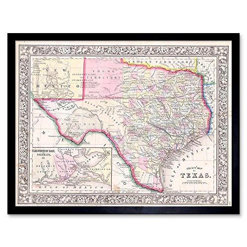 Wee Blue Coo LTD Geography Map Illustrated Antique Mitchel Texas Art Print Framed Poster Wall Decor Kunstdruck Poster Wand-Dekor-12X16 Zoll