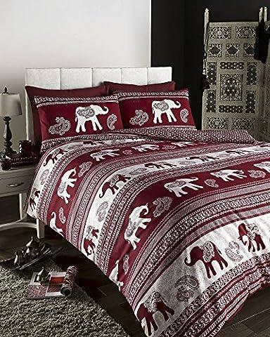 Empire Elephant Printed Animal Print Quilt/Duvet Cover Set Wine, Fully Reversible (King)