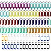 meetory 100pcs plástico Clave etiquetas, clave lables identificador con Split Anillo llavero, multicolor