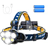 Consciot Rechargeable Headlamp, 6 LEDs 12000 Lumens 18650 USB Rechargeable Waterproof 8 Modes LED Flashlight Rechargeable Hea