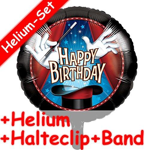 Folienballon Set * ZAUBEREI * + HELIUM FÜLLUNG + HALTE CLIP + BAND * für den Kindergeburtstag // Kinder Geburtstag Folien Ballon Helium Deko Ballongas Motto Magie Zauberer