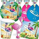 Folat/Carpeta 98-TLG. Party-Set * Flamingo * für eine Gartenparty mit Teller + Becher + Servietten + Deko | Motto Kinder Mottoparty Vogel Hawaii Strand Sommer Sonne