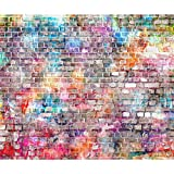 decomonkey Fototapete selbstklebend Steinwand Ziegel 392x280 cm XL Selbstklebende Tapeten Wand Fototapeten Tapete Wandtapete klebend Klebefolie n Ziegelstein Mauer bunt