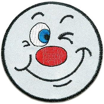 Ø6,5cm grau Smiley Reflex Sicherheit bei Nacht Aufnäher Bügelbild