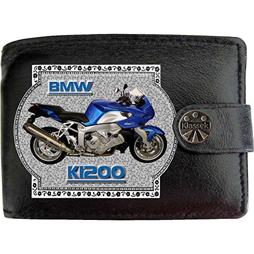 BMW K1200 image sur KLASSEK Hommes RFID Portefeuille Porte-monnaie Réel Noir Cuir Moto Bike cadeau d'accessoire avec boîte en métal produit BMW Non officiel