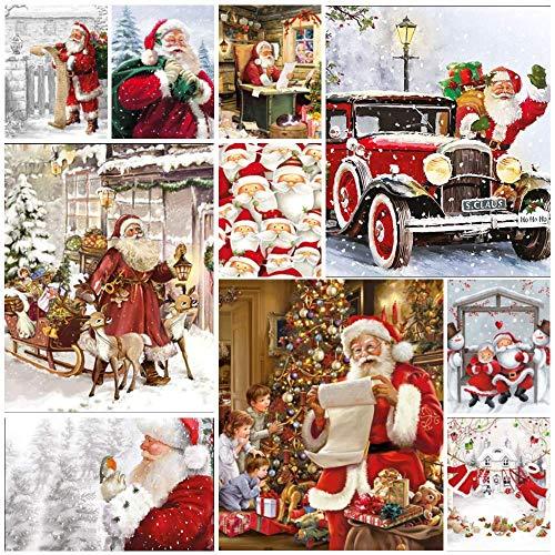 50 tovaglioli natalizi per decoupage - Confezione da 50 tovaglioli di carta, di ogni disegno mostrato. Artigianato, découpage, carte, diario Junk