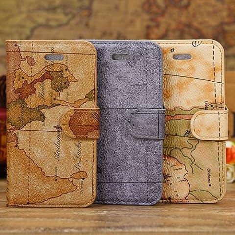 Mapa del mundo de la manera carpeta del patrón de cuero Funda para el iPhone 5C.