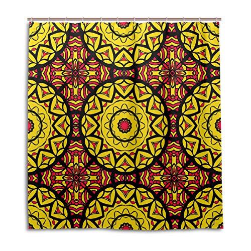 BIGJOKE Cortina de Ducha, diseño Tribal de Mandala, Resistente al Moho, Impermeable, Tela de poliéster, 12 Ganchos, 167,6 x 182,9 cm, decoración del hogar