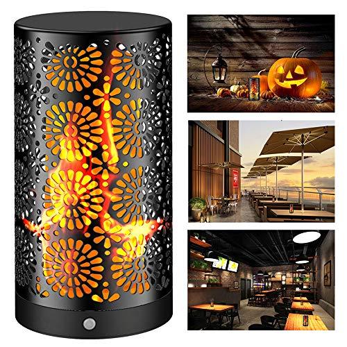 LED Flamme Wirkung Licht JOSO Halloween Wiederaufladbare Tischlampe Flackernde Flamme Glühbirnen Nachtlichter IP44 Wasserdicht mit Magnetisch, für den Innengarten im Freien Bar Party