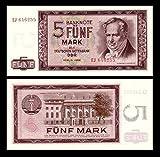 *** 2 Stück 5 DDR Mark Mark Geldscheine 1964 Alte Währung - Reproduktion ***