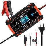 URAQT Cargador de Baterias de Coches, 8A 12V/24V Mantenimiento Automático e Inteligente con Múltiples Protecciones, LCD y Bot