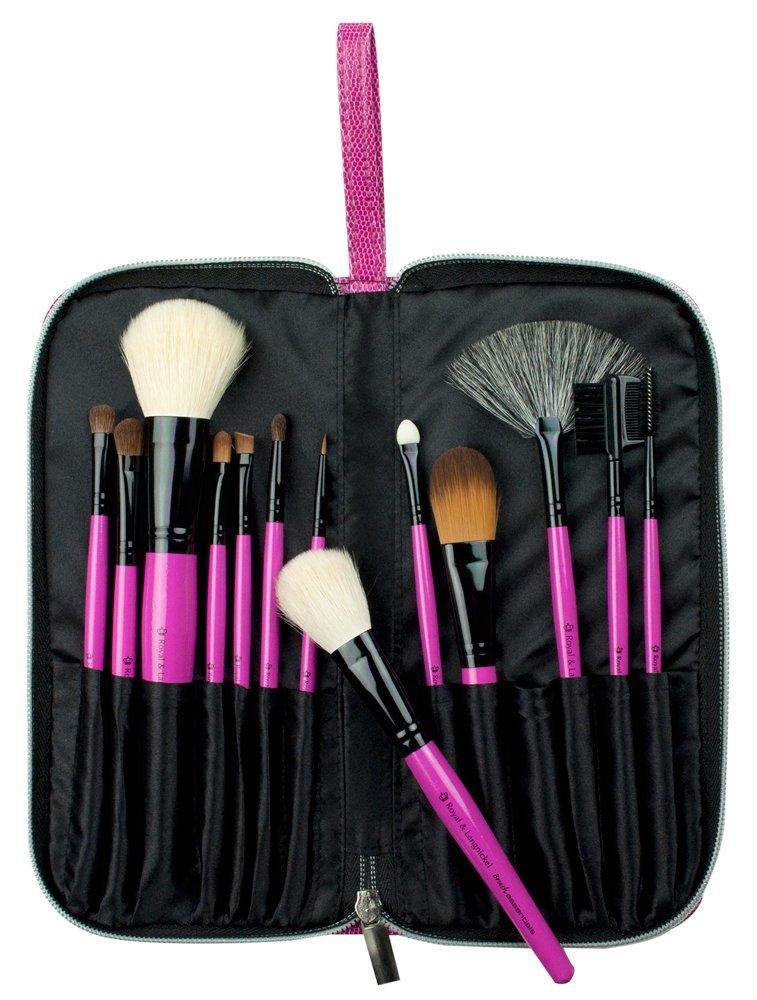 Royal & Langnickel – Set de 13 pinceles con pelo natural y cerdas sintéticas en estuche de cremallera, rosa