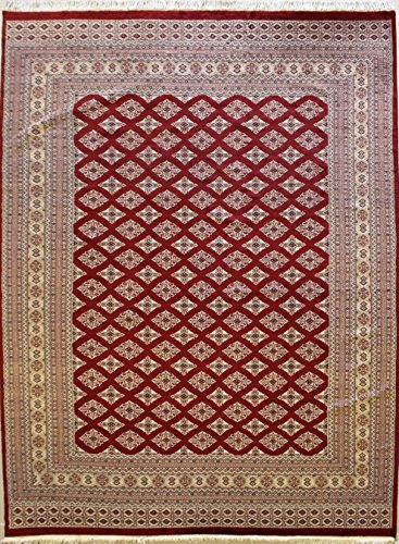 RugsTC 216 x 305 Bokhara Jaldar Area Rug with Silk & Wool Pile - Geometric Design Hand-Knotted in Red,White,Beige Colors | a 213 x 305 Rectangular Rug -