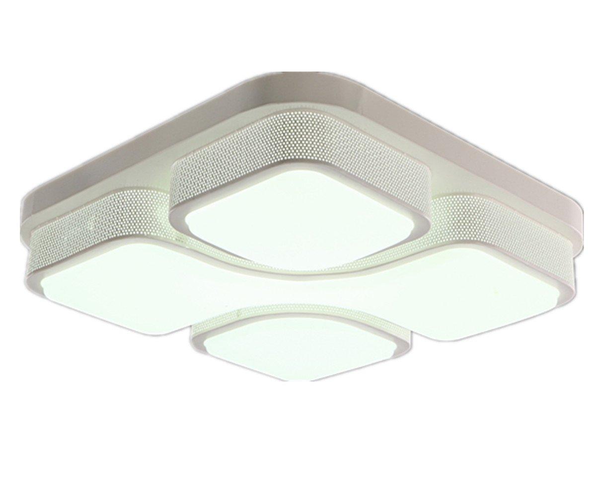 MCTECHR Modern Deckenleuchte 48W LED Deckenlampe Panel Lampe Energiespar Licht Fur Wohnzimmer Wandlampe Weiss Acryl Schirm Lackierte Rahmen Durchbohrte
