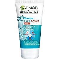 Garnier Detergente Pure Active, Azione 3 in 1, Detergente + Scrub + Maschera per Pelli Grasse o con Imperfezioni, 150 ml