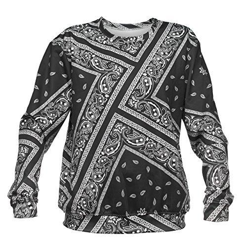 Bandana Gangster Gang Paisley Sweater Fullprint Aufdruck Fashion Oversize Sweatshirt Pullover Pulli (Gangster Frauen)