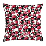 Fruits Decor Throw Pillow Cushion Cover, Strawberries on Minimalist Chevron Striped Pattern Juicy Food Womanly Image, Decorative Square Accent Pillow Case,Black White 20X20 inches