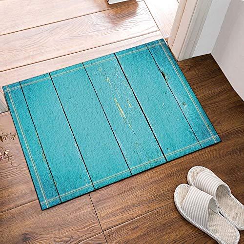 Holz Outdoor-teppich (gohebe Dekor Türkis Holz strukturiert mit vertikal Planks Bad Teppich Rutschfest Boden Eingänge Outdoor Innen vorne Fußmatte 60x 40cm Badvorleger Badematte Bad Teppiche)