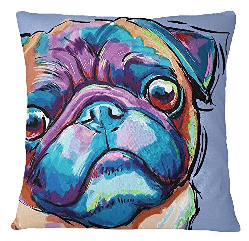 S4Sassy Mops Hund Print Multicolor Kissen Platz Sofa Kissenbezug Dekorative-22 x 22 Zoll (22 22 Dekorative Kissen X)
