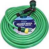 CINAGRO™ - Heavy Duty 3 Layered Braided Water Hose Pipe (Size : 1/2 inch - Lenght : 30 Meters) with 8 Mode Spray Nozzle and Quick Snap-in Connectors - Garden, Car Wash, Floor Clean, Pet Bath