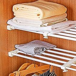 Mensola portaoggetti con griglia regolabile, per cucina, credenza, frigorifero, armadio e libreria, ABS, White, Length Stretch 50-80CM,Wide:24CM
