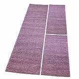 MyShop24h Shaggy Läufer Bettumrandung Hochflor-Teppich Pastell-Lila Einfarbig Bettvorleger 3 teilig
