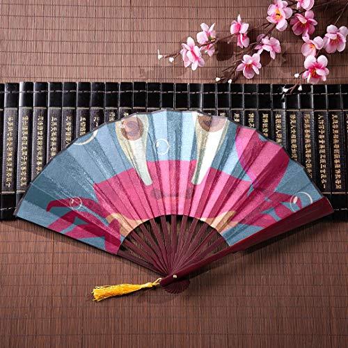 AGIRL Bambus Wand Fan Cartoon Rote Krabbe Mit Bambus Rahmen Quaste Anhänger Und Stofftasche Japanische Hand Fans Für Frauen Hand Fan Fan Chinesischen Handheld Fan