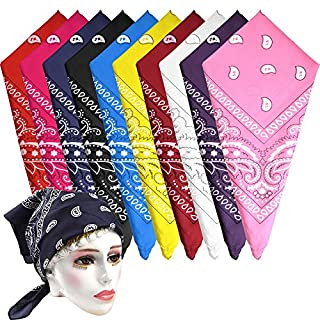 FEPITO 10 Pieces Unisex Multifunction Headwear Bandana Cycling Headband Handkerchief