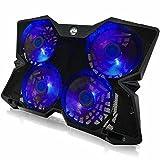 AAB Cooling NC86 - Laptop Stand mit 4 Lüftern und Blau Hintergrundbeleuchtung | Laptop Unterlage | Laptop Ständer | Laptop Lüfter für Notebooks und PS4 / XBOX Consolen | Notebook Cooler | Notebookständer | Laptop Cooling Pad