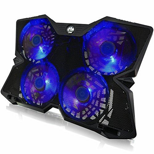 AAB Cooling NC86 - Laptop Stand mit 4 Lüftern und Blau LED | Laptop Unterlage | Ständer | Laptop Lüfter für Notebooks und PS4 / XBOX Consolen | Notebook Cooler | Notebookständer | Cooling Pad