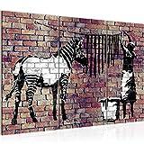 Bilder Banksy Washing Zebra Wandbild 120 x 80 cm Vlies - Leinwand Bild XXL Format Wandbilder Wohnzimmer Wohnung Deko Kunstdrucke Braun 3 Teilig -100% MADE IN GERMANY - Fertig zum Aufhängen 012931b