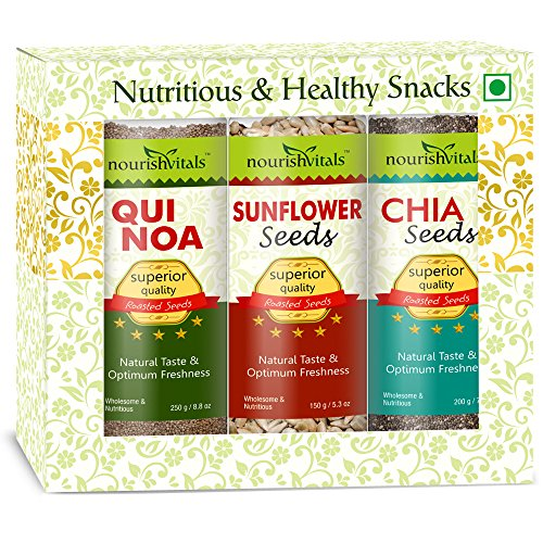 Nourish Vitals Diwali Gift Box - Roasted Quinoa + Sunflower + Chia Seeds (Superior Quality) Gift Box  available at amazon for Rs.1090