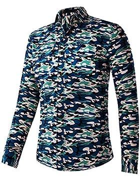 BOZEVON Hombres Camisa Manga Larga Para Con Botón Estilo Camuflaje Slim Fit Tops (Camuflaje - Lago Azul,Camuflaje...