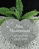 Grabstein Urnenstein Herz inkl. Inschrift 40x30x7 cm Material: Purple Coral