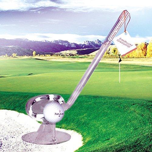 1 Flasche Grappa 'Via Appia Superiore' in Form eines Golfschlägers, ca. 100 ml, 40% vol., 1 Golfball