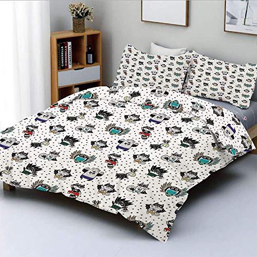 Soefipok Bettwäscheset, Tier Eule Liebe Fuchs Katze Pinguin Waschbär Bär in Superhelden Kostümen PrintDecorative 3-teiliges Bettwäscheset mit 2 Kissenbezügen, White Seal Brown, Kinder - 3 Bären Kostüm