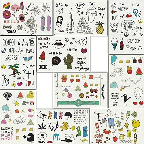 (30er-Set) Temporäre Tattoos Schmuck Aufkleber Kinder Tattoo Klebetattoos für Körper Wasserdichte Fake Tattoo, Mehr als 300 Motivauswahl Tolles Geschenk & Partyaccessoire Ideal