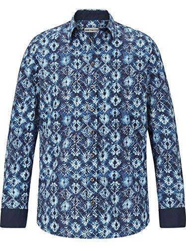 Shirt Master Herren Langarm Hemd Baticflower (freizeithemd, Batik-Muster) dunkelblau 3XL (XXXL) - 47/48 -