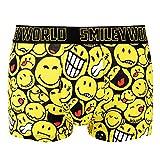 Smiley World Funny Hip lustige Boxershort Unterhose Pant Underwear Geschenk für Herren, Jungen, lustig witzig frech gelbe Smileys 95 % Baumwolle (L, gelb, schwarz, weiß)