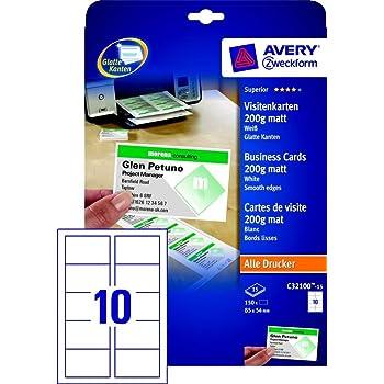 Avery Zweckform 150x Premium Visitenkarten 200g M Matt 15x Bögen Für A4 Drucker Selbst Drucken