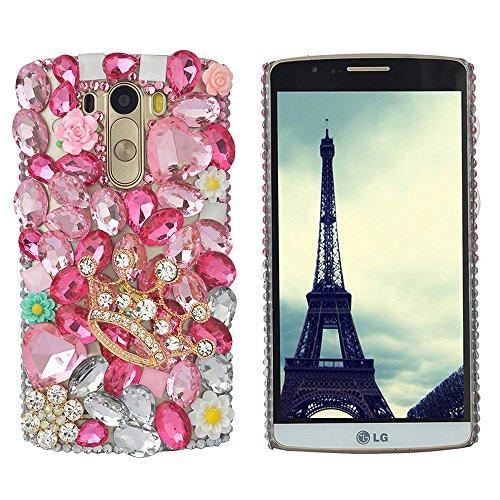 Spritech (TM Bling Hard Case Clear Tasche, 3D Handmade Blume Kristall Schwarz Zubehörs Muster Design Handy Cover, Metall, pink,Crown, LG G2 (G2 Handy)
