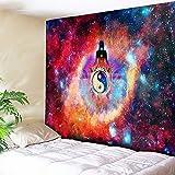 Rjjdd Indian Buddha Chakra Arazzo Galaxy Wall Arazzo Yin Yang Tai Chic Mandala Appeso A Parete Vintage Yoga Room Bedding Boho Decor 130X150Cm