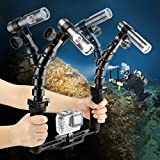 SHOOT Underwater 100M Torch Flex Arm Brazo de dos brazos 900LM Diving Flash Lights para GoPro SJCAM Xiaomi Yi Action Camera con brazos flexibles y bandeja de base