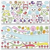 Wandkings Eulen und Vögelchen Wandsticker Megapack Set, 104 Aufkleber, Gesamtfläche 260 x 70 cm