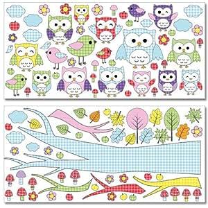 Stickers muraux Wandkings Chouettes et petits oiseaux Stickers en Mega Pack - plus de 100 autocollants sur 2 feuilles de 130 x 70 cm chacune