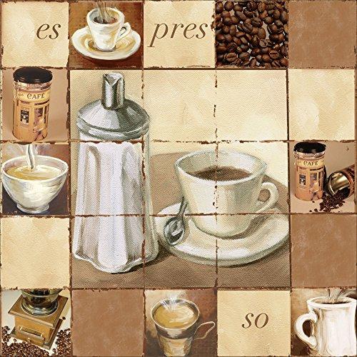 Artland Qualitätsbilder I Bild auf Leinwand Leinwandbilder Wandbilder 40 x 40 cm Ernährung Genuss Getränke Kaffee Malerei Creme A0ZV Espresso Kaffee - Espresso Leinwand