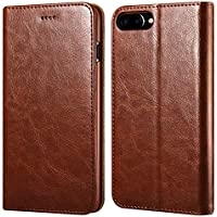iPhone 7/8 Plus Wallet Case, ICARERCASE Premium PU Leather Folio Flip Cover with Kickstand and Credit Slots for Apple iPhone 7/8 Plus 5.5 Inch (Brown)
